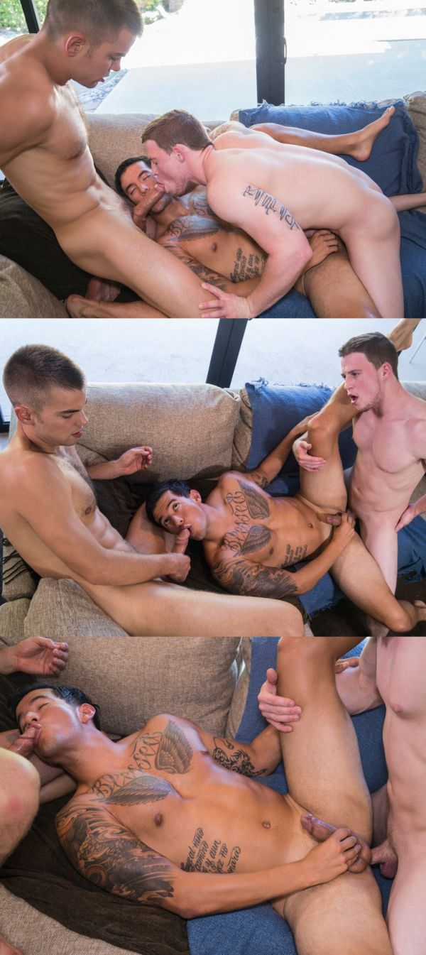 RandyBlue Halloween Hangover Part 1 Joey Rico gets spit roasted by Malachi Marx & Duke Campbell Bareback