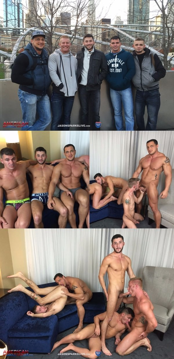 American Muscle Hunks Jason Sparks Brogan Reed Scott DeMarco Joshua James Johnny V Joey D