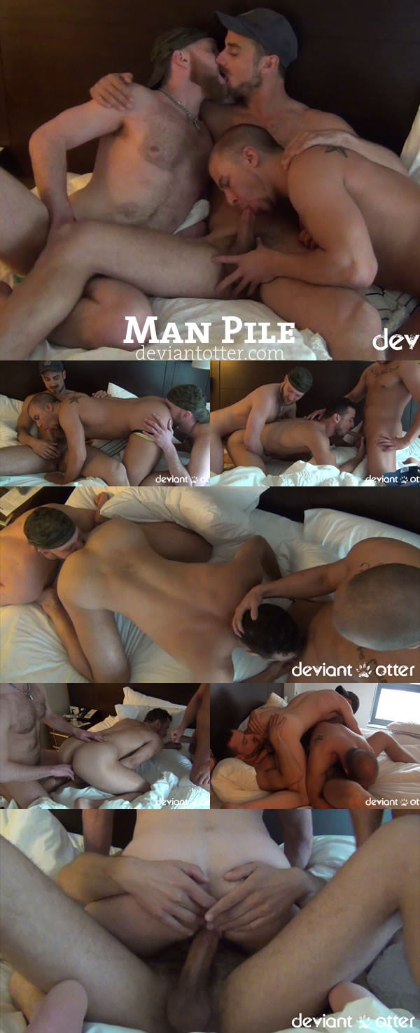 Deviantotter Man Pile Deviant Otter, Eli Hunter & Leon Fox Raw Threeway with Big Loads and Hot Breeding