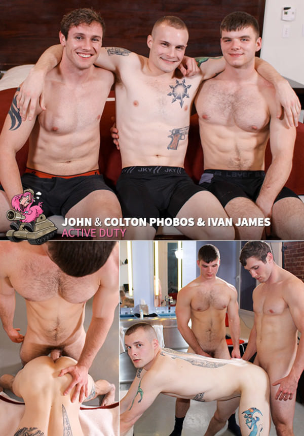 ActiveDuty Colton Phobos gets fucked raw by Ivan James and John