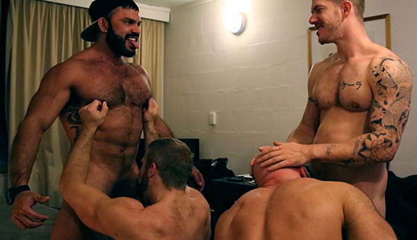 RoganRichards Motel Muscle 4 Way Dirk Caber Jesse Jackman Rogan Richards Skippy Baxter
