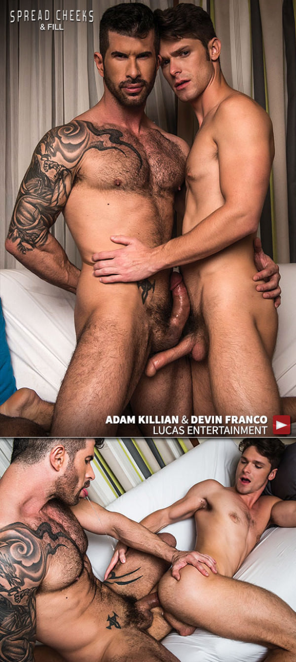 LucasEntertainment Spread Cheeks and Fill Newcomer Devin Franco bottoms for Adam Killian