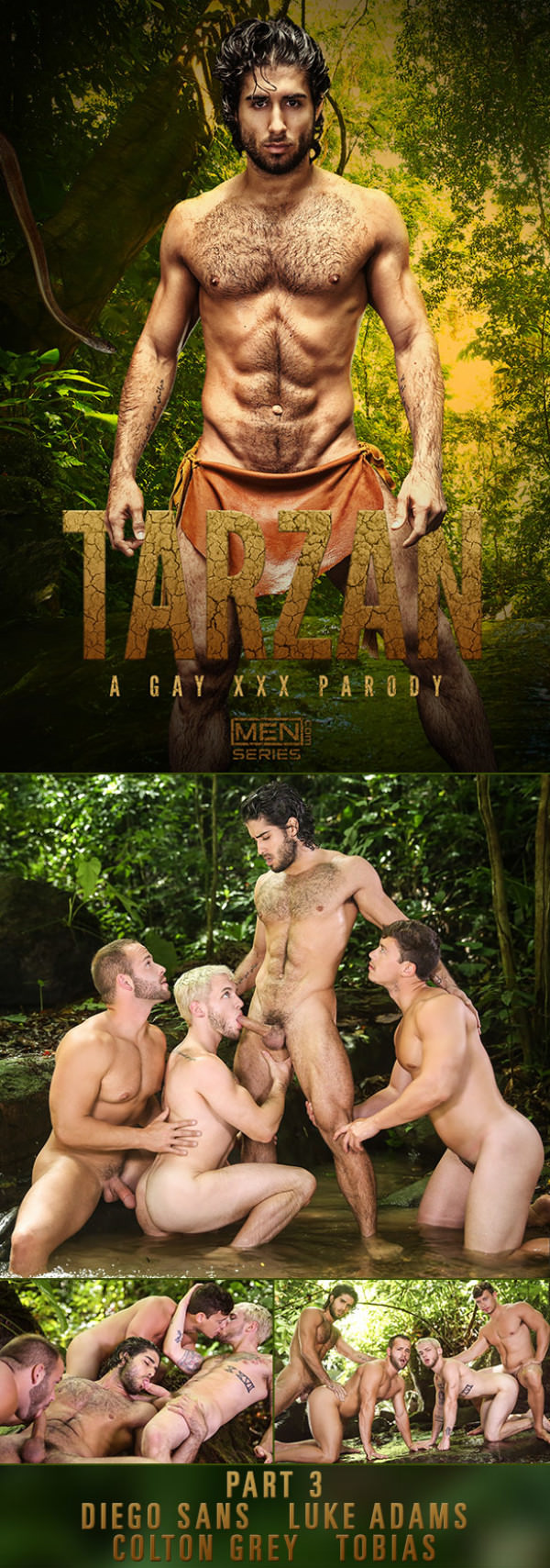 SuperGayHero Tarzan: A Gay XXX Parody, Part 3 Diego Sans and Tobias fuck Colton Grey and Luke Adams Men.com