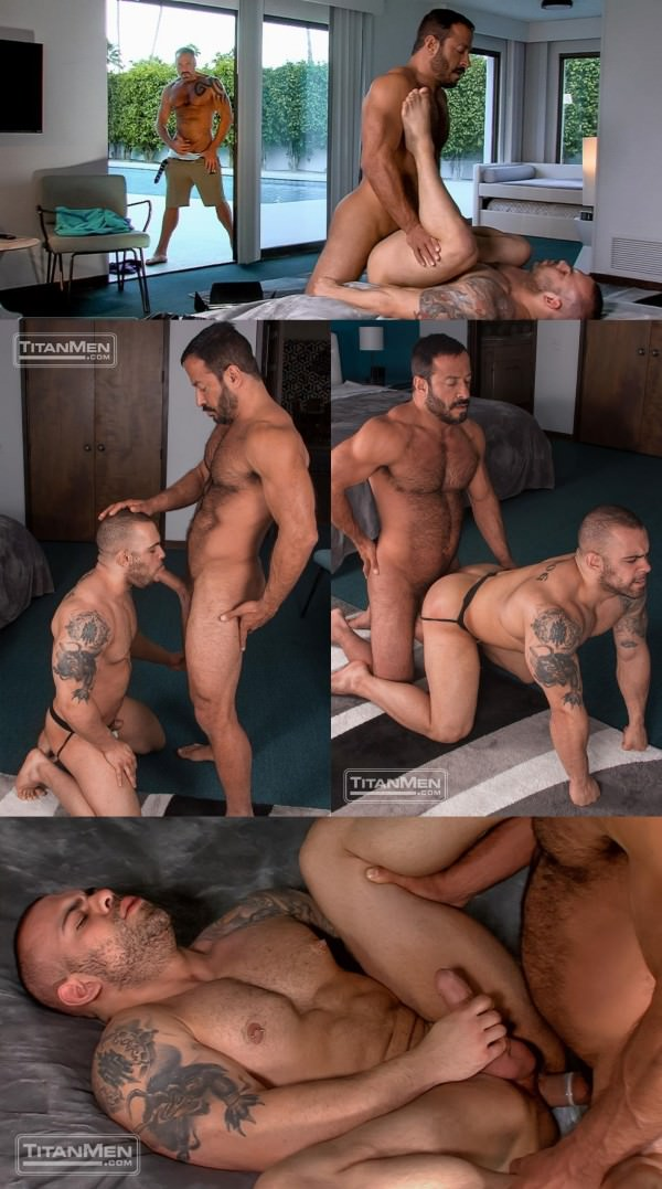 TitanMen RENT Daddy Vinnie pounds his boy Lorenzo while Dallas watchs Dallas Steele, Lorenzo Flexx Vinnie Stefano