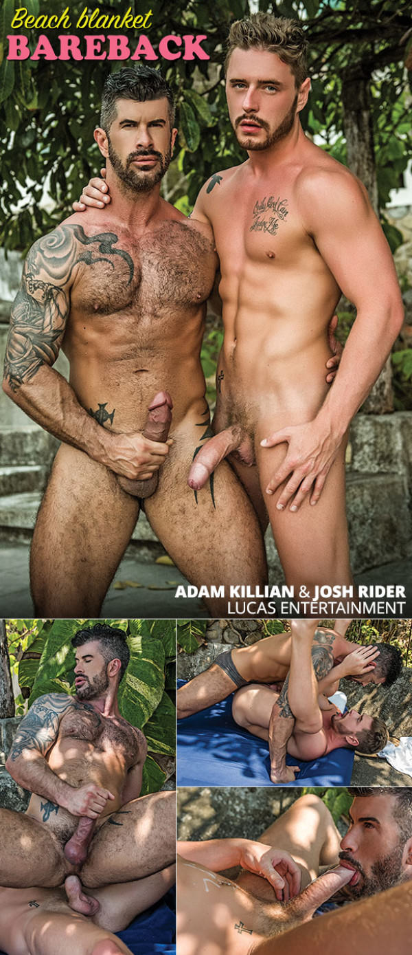 LucasEntertainment Beach Blanket Bareback Josh Rider Adam Killian flip fuck