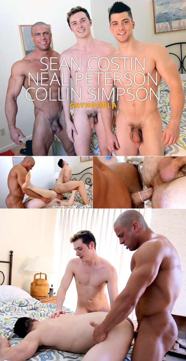GayHoopla Collin Simpson, Sean Costin and Neal Peterson's hot threeway fuck