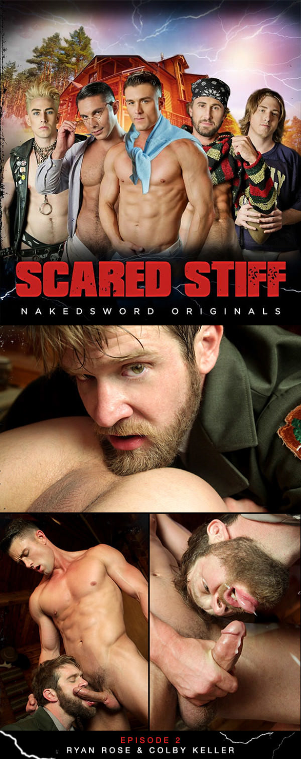 NakedSword Scared Stiff: Episode 2 Yes Sir, Ranger Steve Colby Keller and Ryan Rose suck each other off