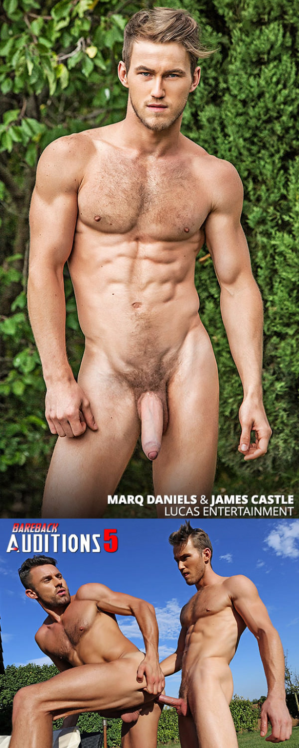 LucasEntertainment Bareback Auditions 05 Newcomer Marq Daniels makes his bareback debut with James Castle