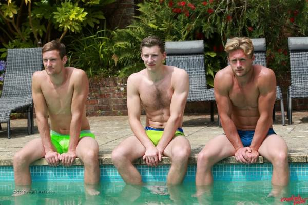 EnglishLads Straight Hunk Cheeky Joel's 1st Man Blow & Aaron Joins in Three Straight Lads in the Sunshine