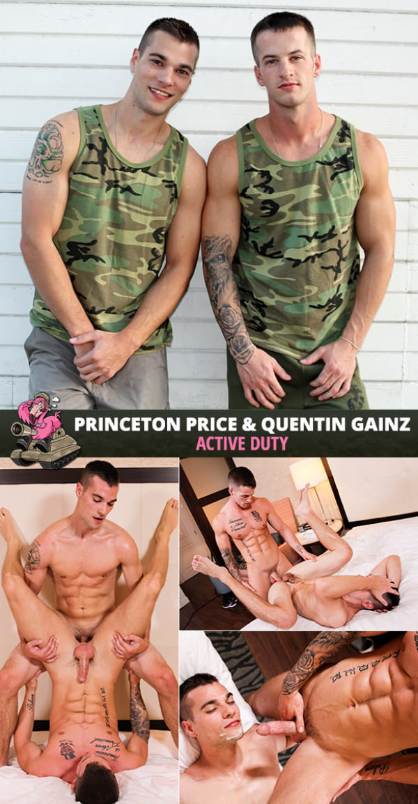 ActiveDuty Princeton Price and Quentin Gainz flip fuck bareback
