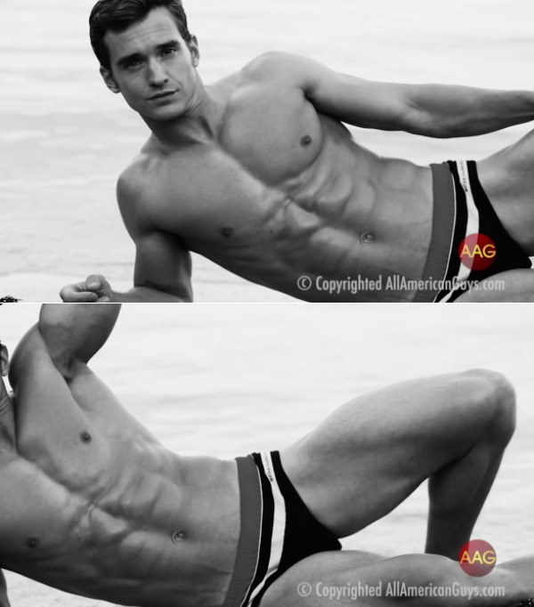 AllAmericanGuys Kevin B Sexy BW Beach Shoot