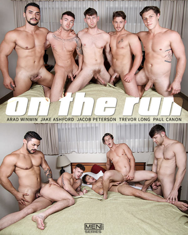 JizzOrgy On The Run, Part 3 Paul Canon, Arad Winwin, Trevor Long, Jacob Peterson & Jake Ashford Men.com