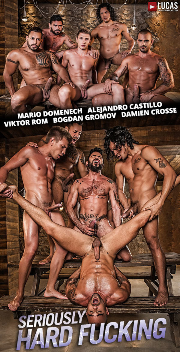 Lucas Entertainment Seriously Hard Fucking - Alejandro Castillo, Viktor Rom, Bogdan Gromov, Mario Domenech and Damien Crosse's bareback orgy