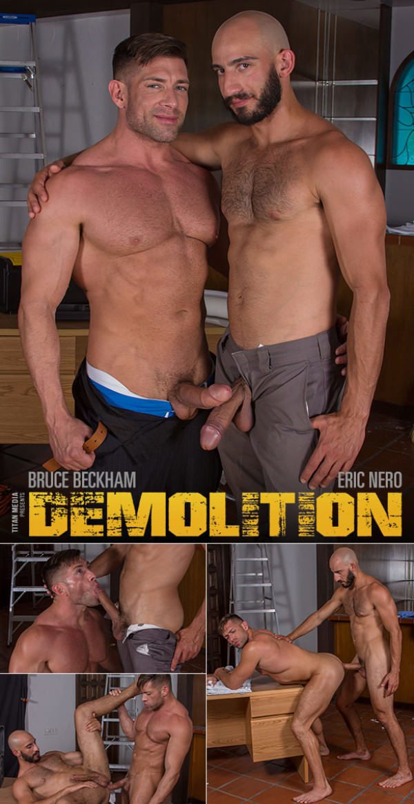 TitanMen Demolition Big-dicked hunks Bruce Beckham and Eric Nero flip fuck