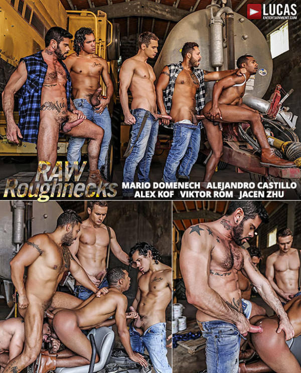 LucasEntertainment Raw Roughnecks Jacen Zhu bottoms for Alejandro Castillo, Alex Kof, Mario Domenech and Viktor Rom