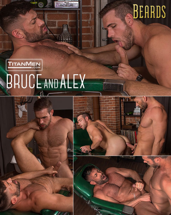 TitanMen Beards Big-dicked hunks Alex Mecum and Bruce Beckham fuck each other