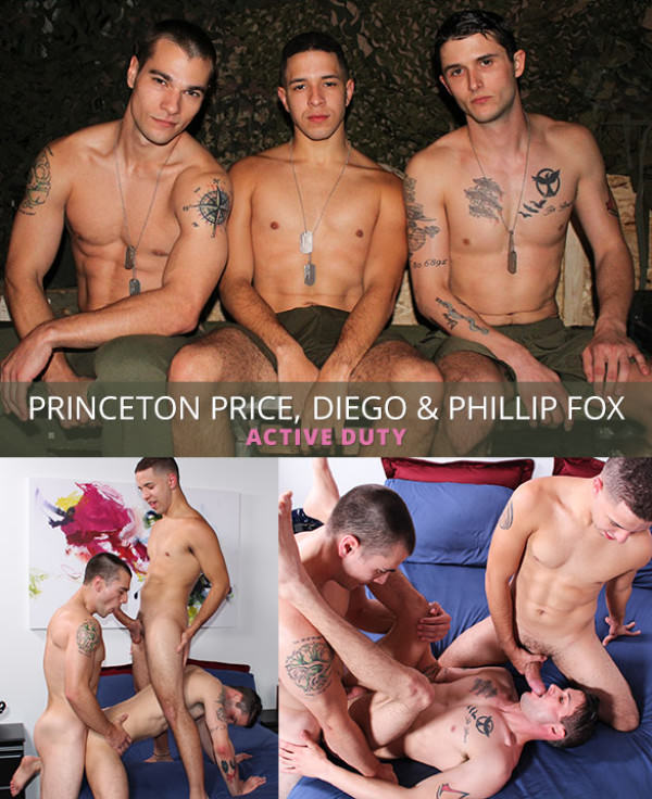 ActiveDuty Princeton Price, Phillip Fox and Diego's raw threeway