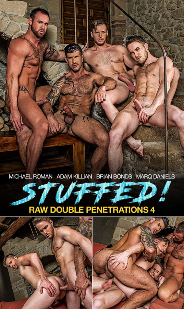 LucasEntertainment Raw Double Penetrations 4: Stuffed Adam Killian, Marq Daniels, Michael Roman and Brian Bonds Bareback