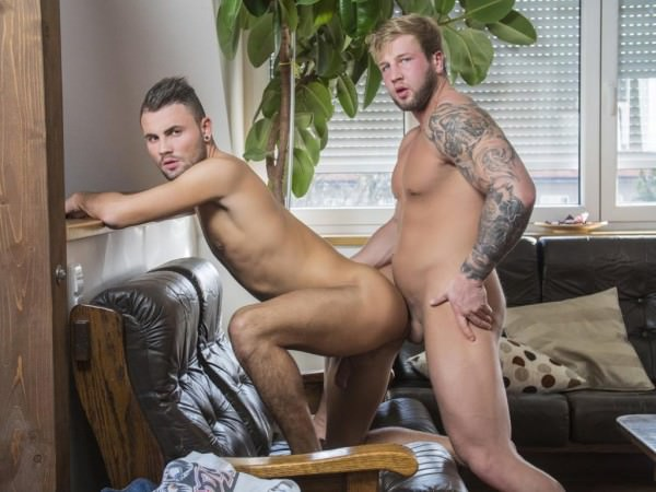 RandyBlue Blond Hercules Brick Moorewood barebacks the fuck out of sexy otter Jeffery Lloyd