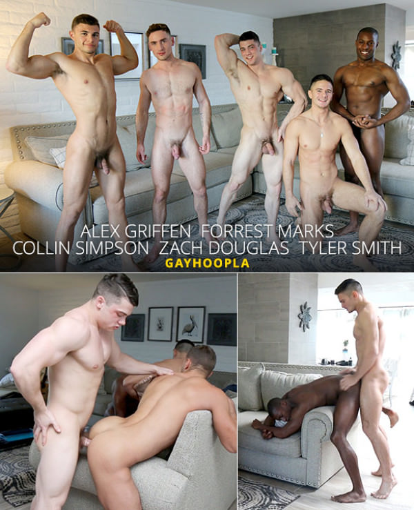 GayHoopla Collin Simpson, Tyler Smith, Alex Griffen, Forrest Marks and Zach Douglas' hot five-man orgy
