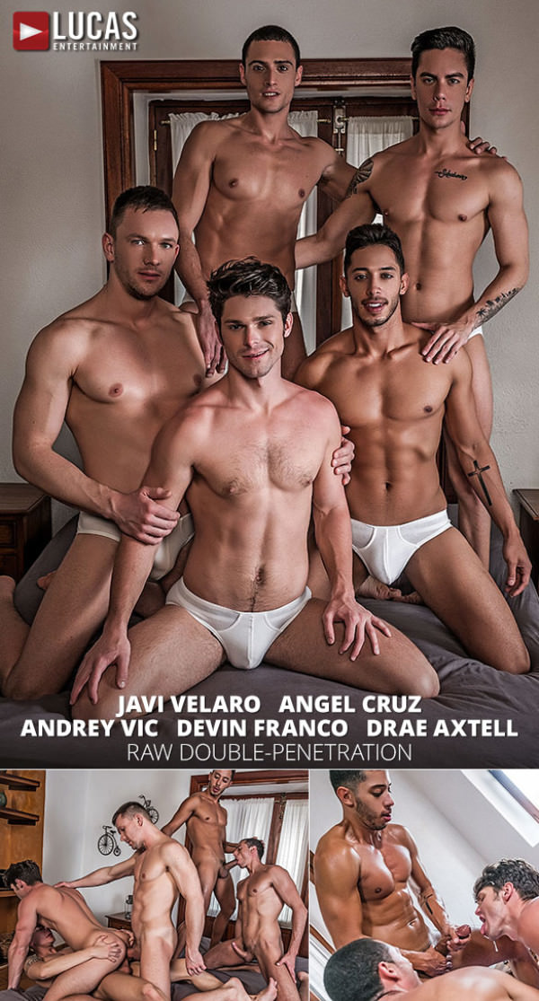 LucasEntertainment Andrey Vic, Angel Cruz, Devin Franco, Drae Axtell Javi Velaro's raw five-man orgy