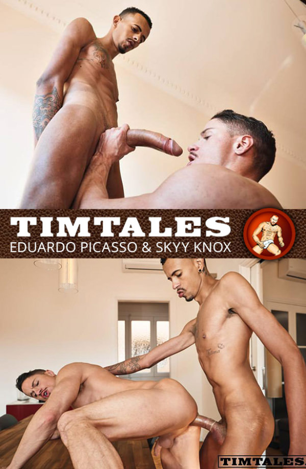 TimTales Skyy Knox bottoms for Eduardo Picasso and his 12-inch cock