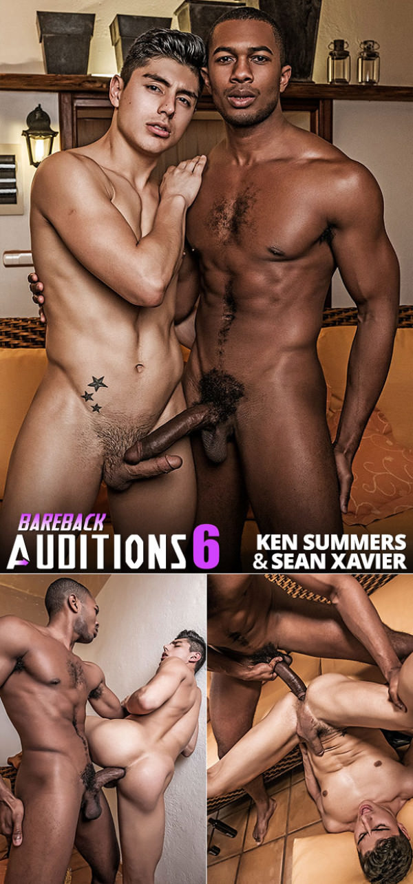 LucasEntertainment Bareback Auditions 06 Sean Xavier jackhammers Ken Summers with his massive cock