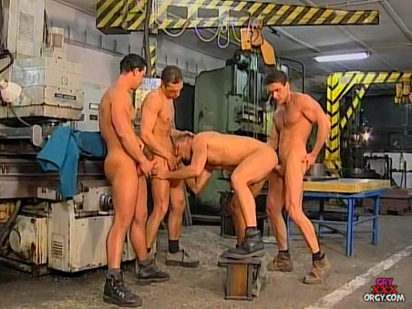 GayXxxOrgy Muscle Bound Factory Workers Fuck