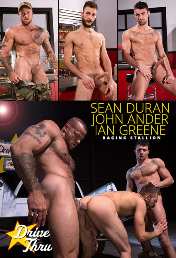 RagingStallion Drive Thru Ian Greene and John Ander get pounded by Sean Duran