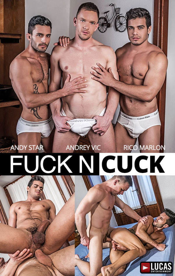 LucasEntertainment Andrey Vic Fucks Rico Marlon & Andy Star In The Ass Bareback