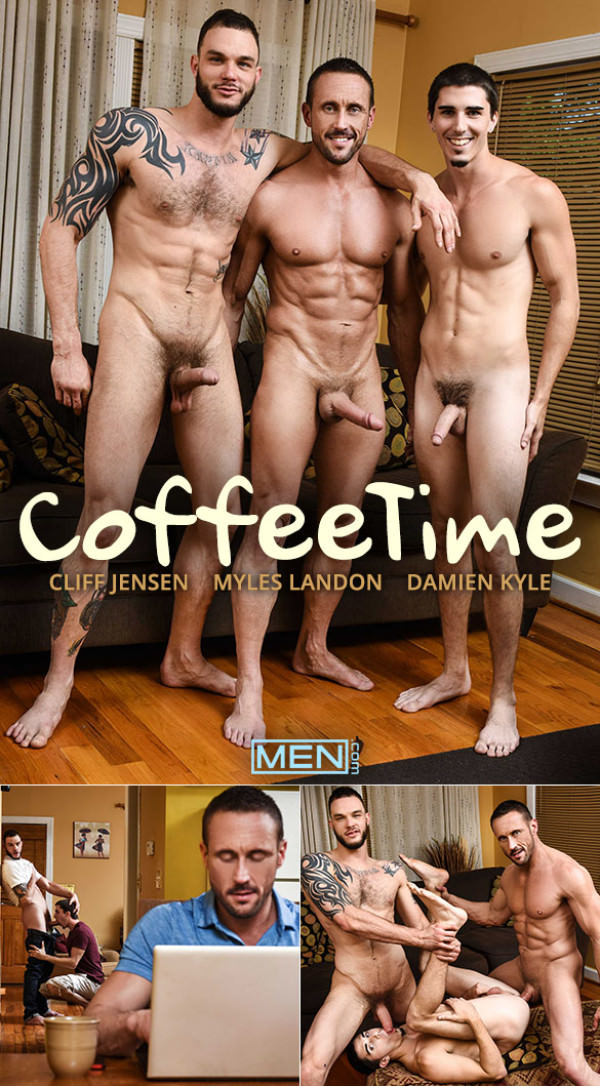 DrillMyHole Coffee Time Damien Kyle bottoms for big-dicked Myles Landon & Cliff Jensen Men.com