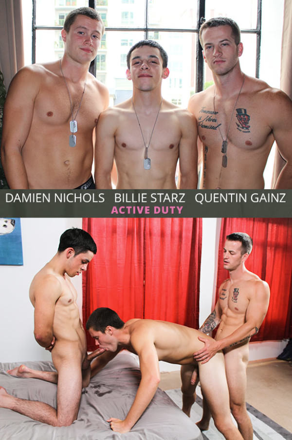 ActiveDuty Damien Nichols gets his ass cherry popped in a hot bareback threeway with Quentin Gainz and Billie Starz