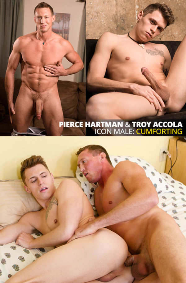 IconMale Age of Innocence Big-dicked muscle stud Pierce Hartman tops Troy Accola