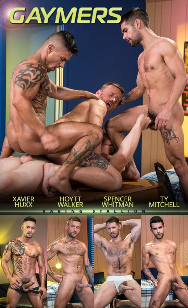 RagingStallion Gaymers Hoytt Walker, Spencer Whitman, Xavier Huxx Ty Mitchell have an intense orgy