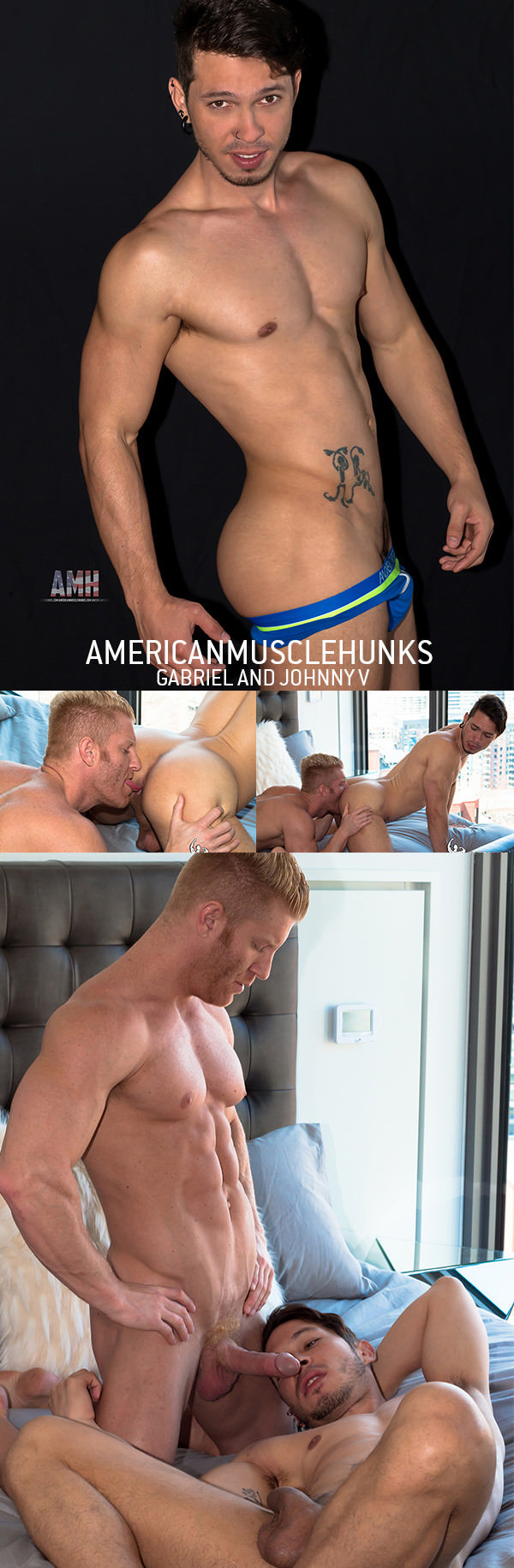 AmericanMuscleHunks Johnny V Gabriel Alanzo