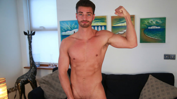 EnglishLads Straight Ripped Footballer James Wanks his Huge Uncut Cock and Cums on his Chest and Abs