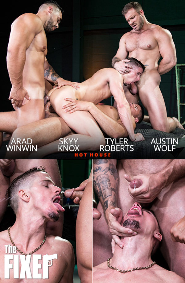 HotHouse The Fixer - Skyy Knox gets fucked hard by Austin Wolf, Arad Winwin Tyler Roberts