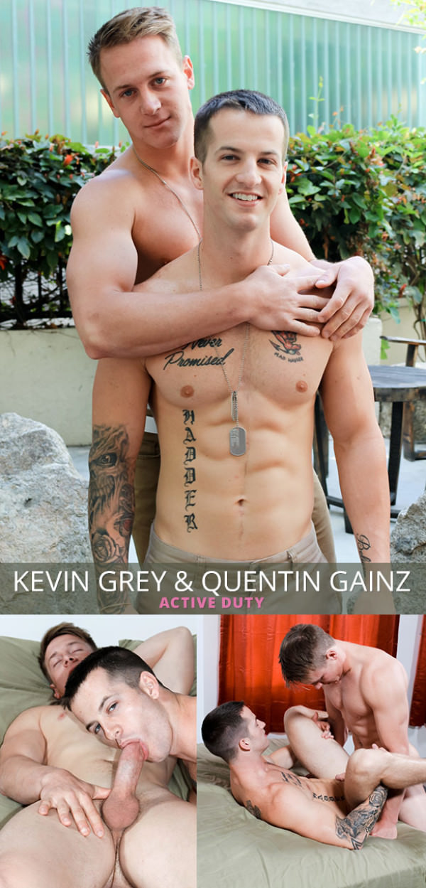 ActiveDuty Quentin Gainz Kevin Grey fuck each other bareback