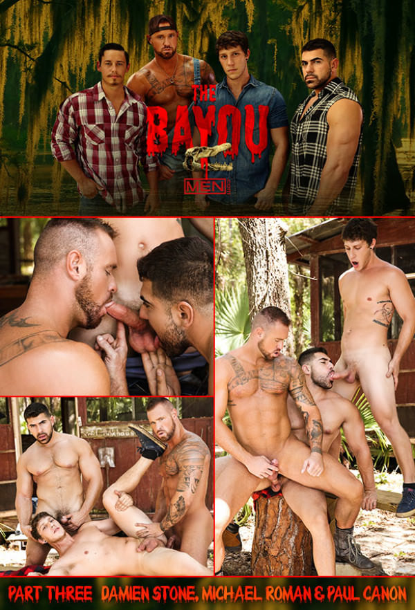Men.com The Bayou Part 3 Damien Stone, Michael Roman & Paul Canon's hot threeway fuck DrillMyHole