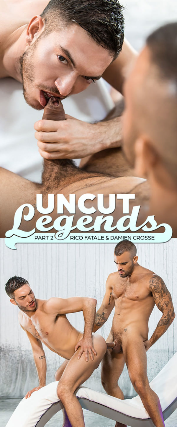 Men.com Uncut Legends, Part 2 - Damien Crosse Rico Fatale pound each other DrillMyHole