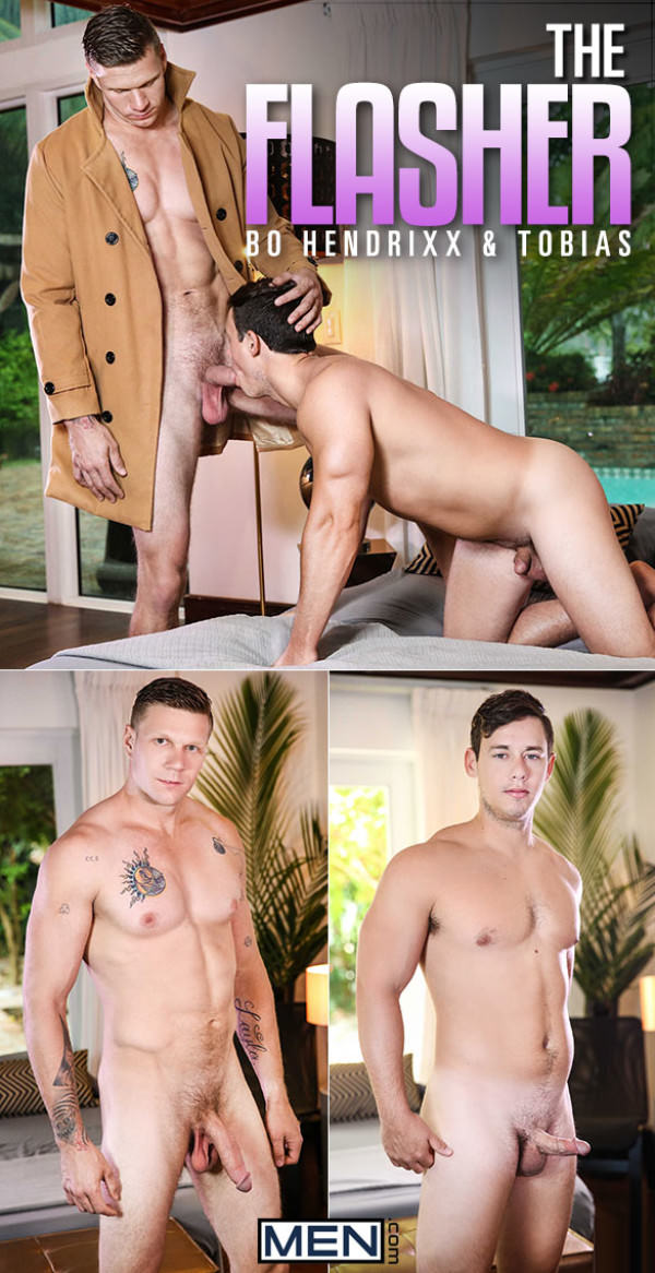 Men.com The Flasher Tobias gets fucked by Bo Hendrixx and his 9-inch cock DrillMyHole
