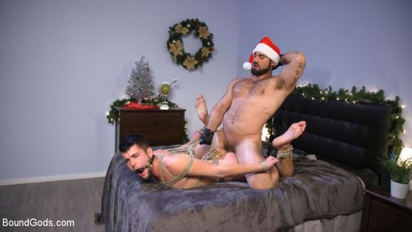 BoundGods Santa's Slut: Rough Takedown Sex for First Time Kink Model Jaxton Wheeler Addison Blue