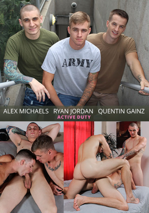 ActiveDuty Ryan Jordan bottoms for Quentin Gainz and newcomer Alex Michaels Bareback