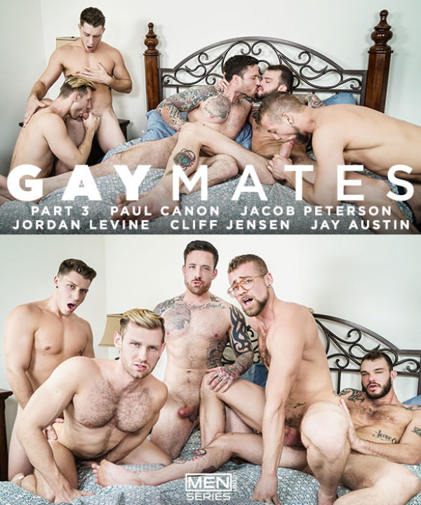 Men.com Gaymates Part 3 Cliff Jensen, Jordan Levine, Paul Canon, Jay Austin Jacob Peterson's hot orgy JizzOrgy