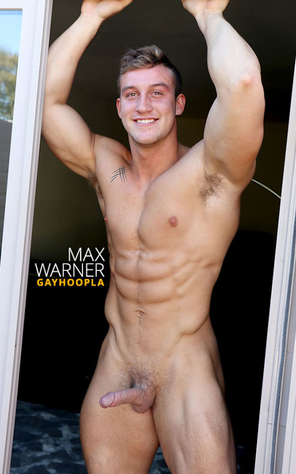 GayHoopla Hot new muscle stud Max Warner shows off and rubs one out