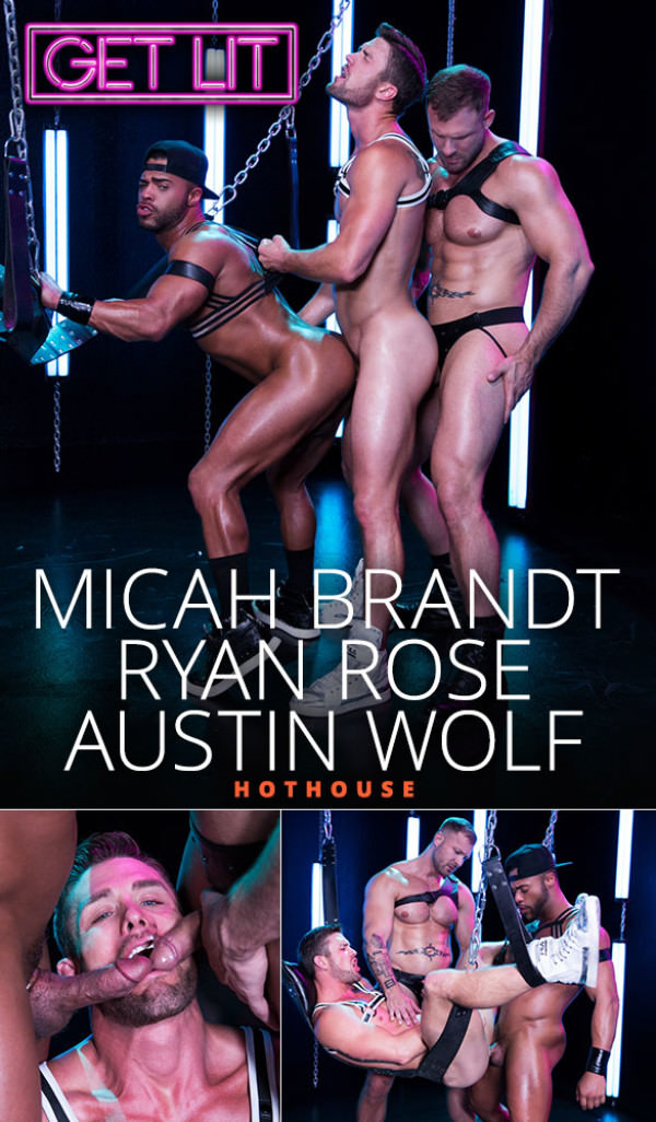 HotHouse Get Lit Micah Brandt, Ryan Rose and Austin Wolf's threeway fuck