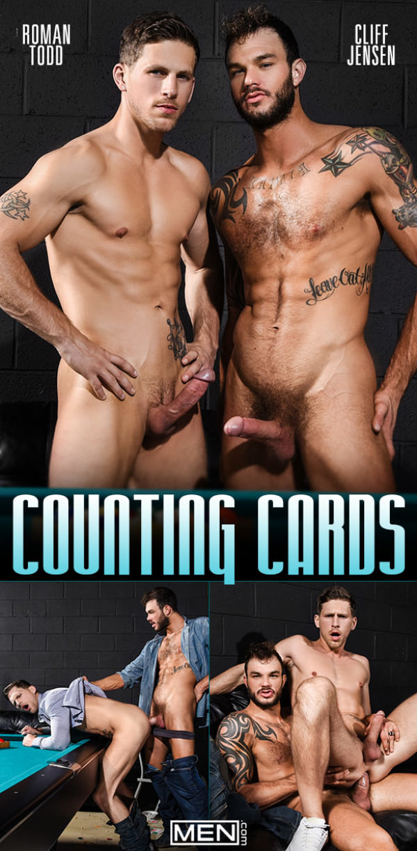 Men.com Counting Cards Roman Todd rides Cliff Jensen's big dick DrillMyHole