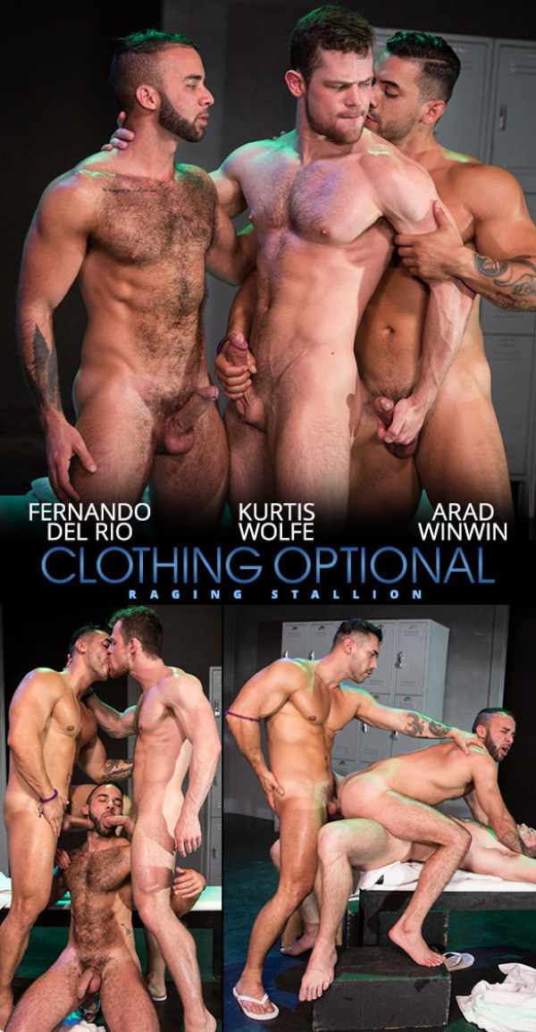 RagingStallion Clothing Optional Fernando Del Rio gets double fucked by Arad Winwin Kurtis Wolfe