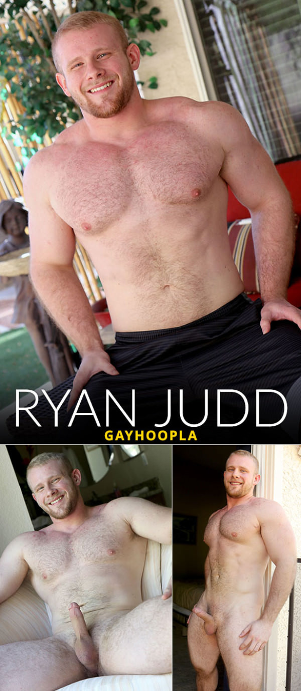 GayHoopla Hairy Bodybuilder Ryan Judd Jerks His COCK - Solo