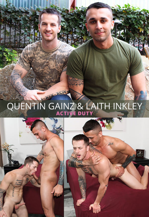 ActiveDuty Laith Inkley fucks Quentin Gainz bareback